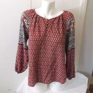 CB Red Floral Peasant Style Blouse Top XL Festival